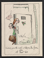 thumbnail image for Helen and Cleanthe Carr Christmas card to Alfred Frueh