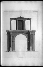 A view of the Arch of Hadrian. Elevation of the front facing the southeast.