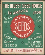 Landreth Seeds Philadelphia. The Oldest Seedhouse in America.