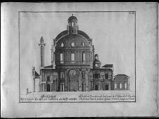 Profil et elevation de la coupe de l'Eglise de St. Charles Borromée dans le dedans depuis l'Entreé jusqu' au Choeur.