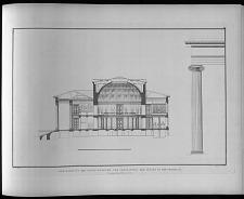 Durchschnitt des neuen museums und verhältnis der säulen in der vorhalle.