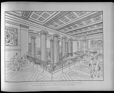Perspectivische ansicht von der galerie der haupt treppe des museums durch den porticus auf den lustgarten und seine umgebungen.