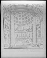Perspectivische ansicht der rotunde des museums.