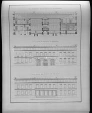 Fig. 1. Durchschnitt nach der richtung E F des grundrisses. Fig. II. Façade der westseite des schlosses. Fig. III. Façade der ostseite des schlosses.