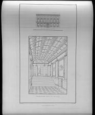 Facade an der strasse. Perspectivische ansicht des vestibuls.