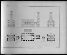 Entwurf einer kleinen kirche mit einem thurm.
