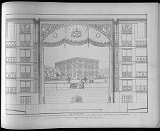 Ansicht des proscenium der daranstossenden logen und die perspectivische ansicht des theaters als scenenbild.