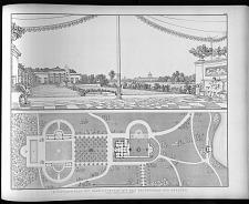 Situations plan von Charlottenhof mit den grundrissen der gebaeude.