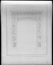 Ansicht des zweiten portals mit seinen ornamenten an der neuen bauschule in Berline.