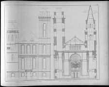 Ehemaliger zustand der thurmfaçade der kirche in zittat ... profile durch die restaurirten