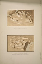 a) View of principal structures looking south. b) View of principal structures looking north. Sketched from plaster model in the South Kensington Museum