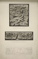 a) Carved slab (in four pieces) found in the western court. Photograph of plaster cast in the South Kensington Museum. b) Ornament fallen from stairway leading up to temple. Photograph of plaster cast in the South Kensington Museum. Outline drawing of the above carving slightly restored.