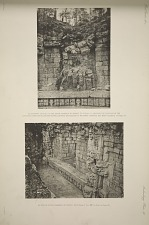 a) Doorway leading to the inner chamber of temple showing the position of the displaced cornice & fallen roof stones, before the passage to the inner chamber had been cleared. b) View of outer chamber of temple.
