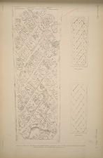 Stela J. (Page 54) The east face drawn from a plaster cast in the South Kensington Museum with a scheme for numbering the glyples