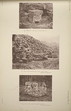 (a) Altar, Z. See Plate 112 and Page 68. (b) East side of mound No. 7. Plate 1. and altars., see Plate 114 & Pages 68-69. (c) Side view of the altar in front of Stela D. See Plate 42 & Page 69.