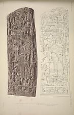 Stela A. Photograph and drawing of the north face. From a plaster cast. See pages 7 and 8.