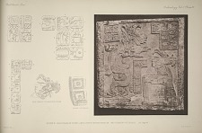 House F. Photograph of stone lintel now in British Museum, and drawing of details. See Page 45.