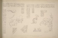 House G. Drawings of the inscriptions on the two stone lintels and details of the ornament. See Plates 86 & 87 & page 45.
