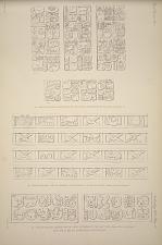 (a) Casa de Monjas, inscriptions on the lintels of doorways ... (b) Casa de Monjas, line of symbols over doorway in the east wing ... (c) Casa de Monjas, inscription oon lintel of doorway in the east wing ... are all drawn from plaster casts.