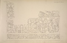 The great ball court. The sculptured chamber E. Plate 27. The south wall. See Plate 44 and Pages 32-33.