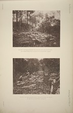 Mound 14 (Plate 2), showing the stairway and the stone cones and snakes heads dug up by Doctor le Plongeon. See Page 34. Mound 14 (Plate 2), snakes heads, cones, and stone cist dug up by Doctor le Plongeon. See page 34.