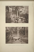 (a) Temple No. 17 (Plate 60), showing the backs of the pillars and the broken altar (looking north) See Plate 62a and Pages 37-38. (b) Temple No. 17 (Plate 60), showing the backs of the pillars and the broken altar. See Plate 62a and Pages 37-38.
