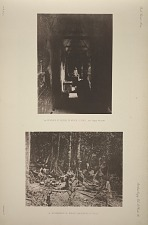 (a) Interior of house in which I lived, See Pages 48 & 49. (b) Encampment of Indian labourers at Tikal.