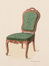 Fauteuil et Chaise de salon (Genre Louis XV simple).