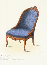 Fauteuil & Chaise Marquise. Ameublement d'une Chambre à coucher (Genre Louis XV).