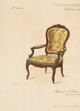 Fauteuil et Chaise de Salon (Genre Louis XV, simple).