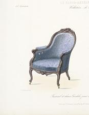 Fauteuil et chaise Gondole pour chambre a coucher, Genre Louis XV
