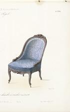 Fauteuil et chaise Gondole pour chambre a coucher, Genre Louis XV.