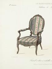 Fauteuil et chaise à médaillon mouvementé. Genre Louis XV.