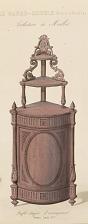 Buffet étagère d'encoignure. Genre Louis XVI.