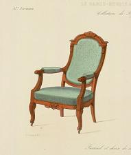 Fauteuil et chaise de salon. Genre Louis XVI