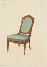 Fauteuil et chaise de salon. Genre Louis XVI.