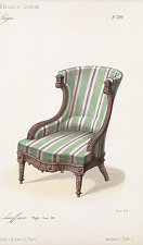 Fauteuil confortable, chaise chauffeuse, Style Louis XVI.