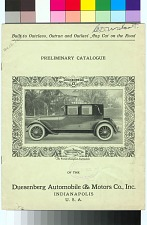 Preliminary Catalogue of the Duesenberg Automobile & Motors Co., Inc.