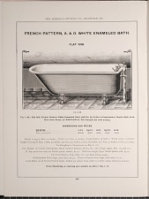French Pattern, A. & O. White Enameled Bath