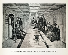 Interior view of a saloon on a packet ship