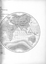 Map Exhibiting Areas of the Temperature of the Ocean and the Isothermal and the Isocheimal Curves of the Continents by the U.S. Ex Ex 1850