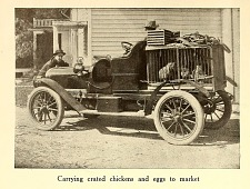 Carrying crated chickens and eggs to market.
