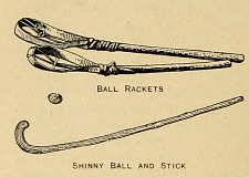 Ball rackets. Shinny ball and stick.