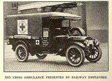 Red Cross ambulance presented by railway employees.