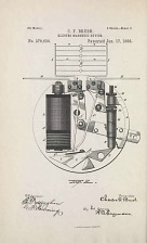 Drawing for Patent No. 376,630 for an electro magnetic device granted to C.F. Brush January 17, 1888.
