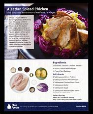 Blue Apron Alsatian spiced chicken recipe card