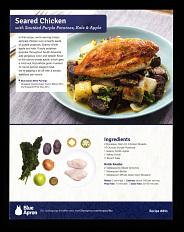 Blue Apron seared chicken recipe card