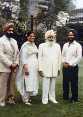 Duggal's father, Sant Darshan Singh Ji, inside the United Nations in 1986 where he was invited to pray for world peace. Also pictured are Mac Duggal, his brother Sant Rajinder Singh Ji, and his mother Harbhajan Kaur Ji.