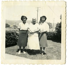 Concha Sanchez with her daughters Guadalupe and Maria, about 1940