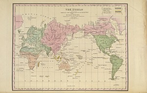 The world showing the geographical distribution of the human species. Engraved for Dr. Morton's Crania Americana.
